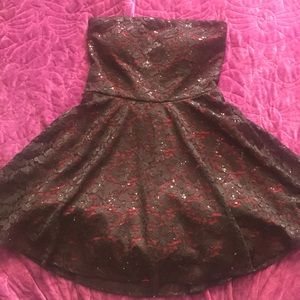 Love Reign sequin black and red lace dress